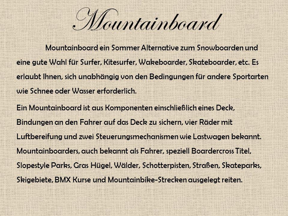 Mountainboard Mountainboard ein Sommer Alternative zum Snowboarden und eine gute Wahl für Surfer, Kitesurfer, Wakeboarder, Skateboarder, etc.