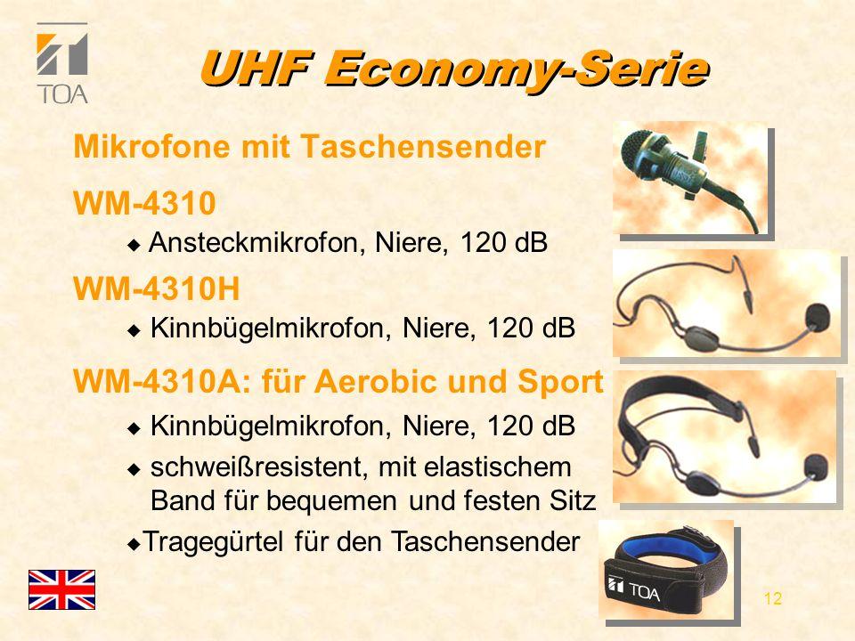 bcbc 11 UHF Economy-Serie l Betriebs- und Batterieladungsanzeige l WM-4210 u dynamisch, Niere, u bis 130 dB SPL l WM-4220 u Elektretmikrofon, Niere, u bis 125 dB Handmikrofone l Geräuscharme Ein-/Ausschalter mit Rollschutz u verhindert das Wegrollen des Mikrofons