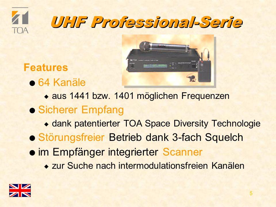 bcbc 5 UHF Professional-Serie Features l 64 Kanäle u aus 1441 bzw.