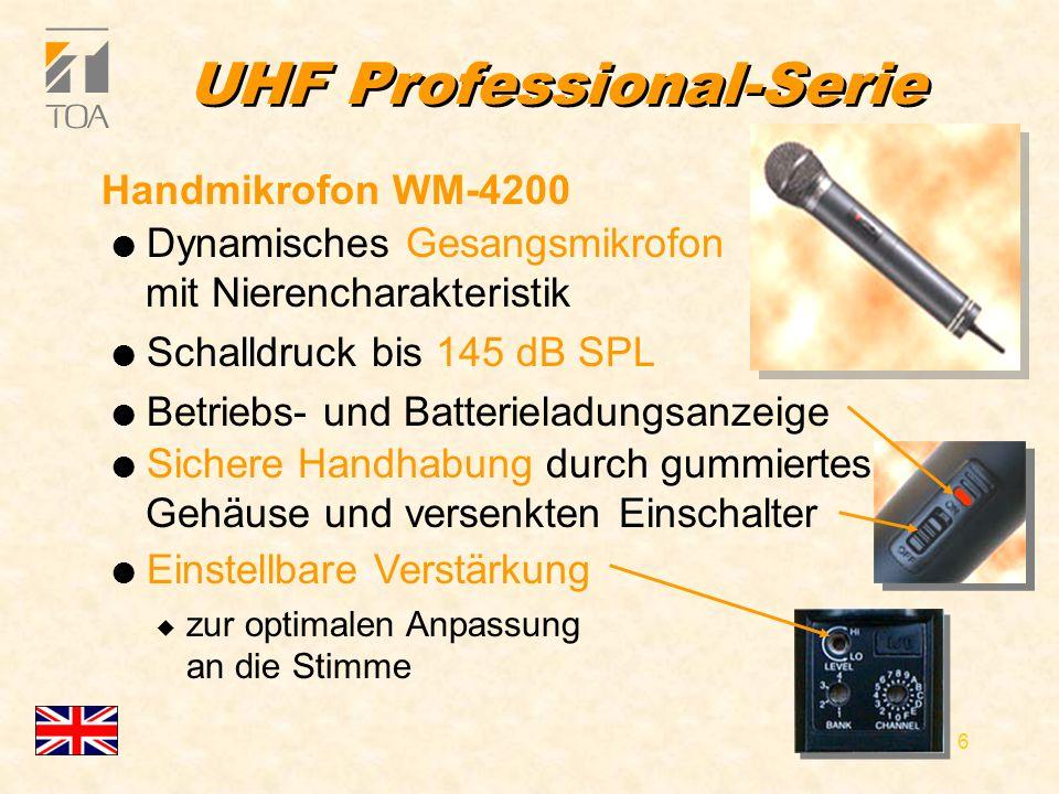 bcbc 6 UHF Professional-Serie l Dynamisches Gesangsmikrofon mit Nierencharakteristik l Schalldruck bis 145 dB SPL l Betriebs- und Batterieladungsanzeige Handmikrofon WM-4200 l Einstellbare Verstärkung u zur optimalen Anpassung an die Stimme l Sichere Handhabung durch gummiertes Gehäuse und versenkten Einschalter