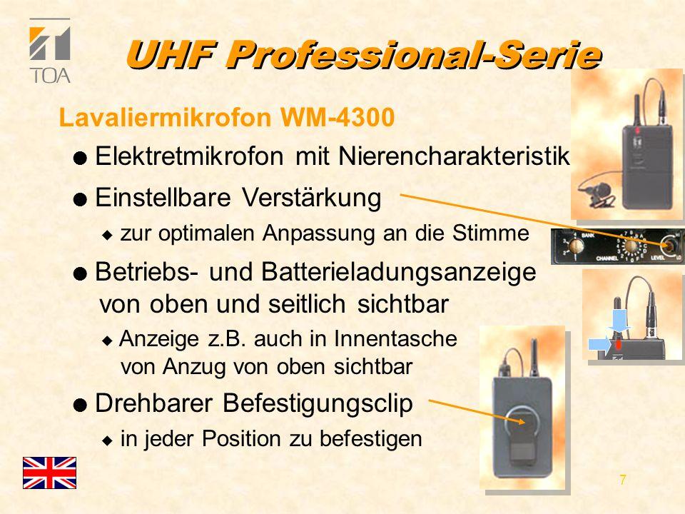 bcbc 17 Handmikrofone l Geräuscharme Ein-/Ausschalter mit Rollschutz u verhindert das Wegrollen des Mikrofons Economy-Serie l WM-3210 u dynamisch, Niere, u bis 130 dB SPL l WM-3220 u Elektretmikrofon, Niere, u bis 125 dB l Betriebs- und Batterieladungsanzeige