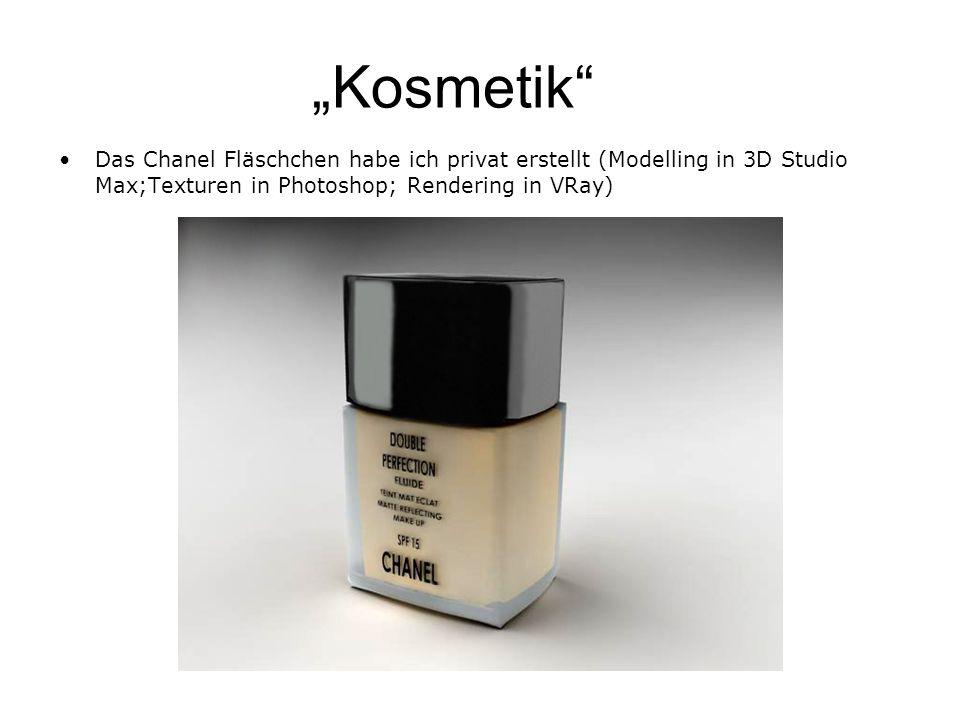 Kosmetik Das Chanel Fläschchen habe ich privat erstellt (Modelling in 3D Studio Max;Texturen in Photoshop; Rendering in VRay)