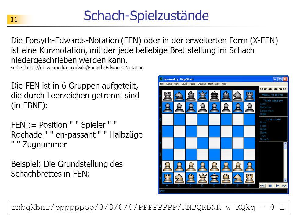 11 Schach-Spielzustände Die Forsyth-Edwards-Notation (FEN) oder in der erweiterten Form (X-FEN) ist eine Kurznotation, mit der jede beliebige Brettste