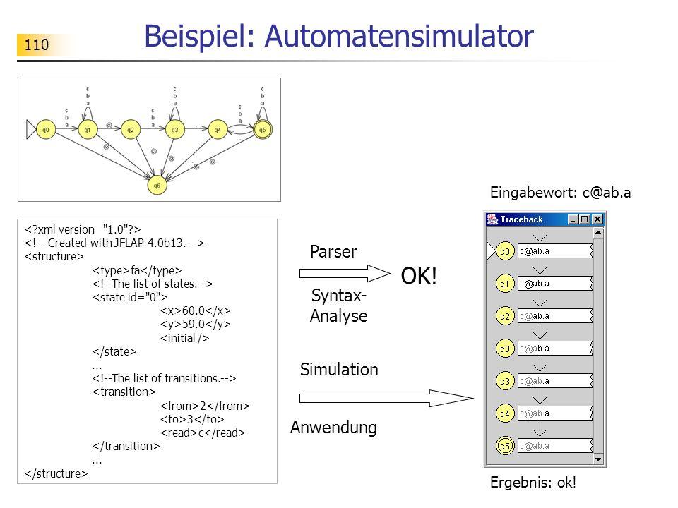 110 Beispiel: Automatensimulator fa 60.0 59.0... 2 3 c... Simulation Syntax- Analyse OK! Parser Anwendung Eingabewort: c@ab.a Ergebnis: ok!