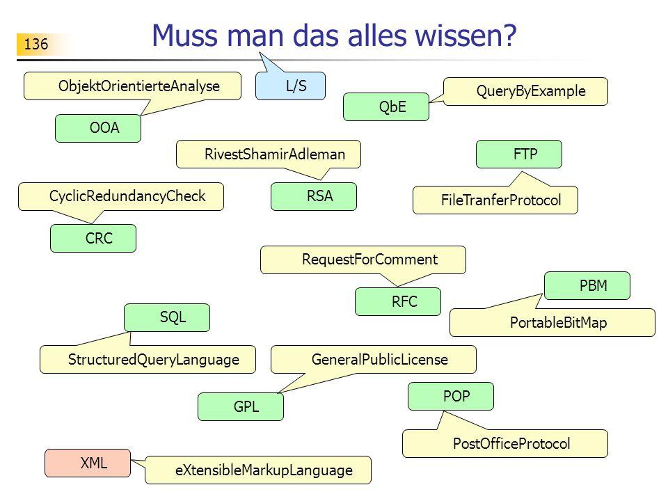 136 Muss man das alles wissen? POP SQL OOA RSA FTP GPL PBM RFC QbE CRC XML PostOfficeProtocol StructuredQueryLanguage ObjektOrientierteAnalyse RivestS