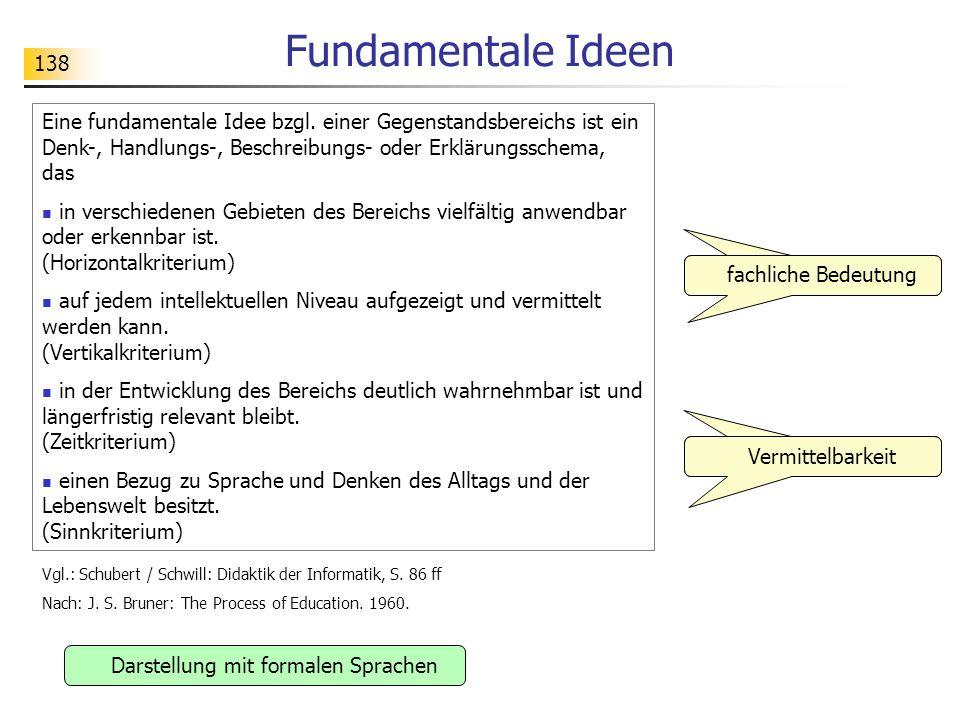 138 Fundamentale Ideen fachliche Bedeutung Darstellung mit formalen Sprachen Vermittelbarkeit Eine fundamentale Idee bzgl. einer Gegenstandsbereichs i