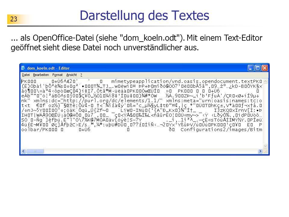 23 Darstellung des Textes... als OpenOffice-Datei (siehe
