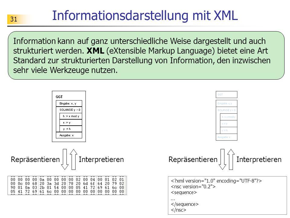 31 Informationsdarstellung mit XML Information kann auf ganz unterschiedliche Weise dargestellt und auch strukturiert werden. XML (eXtensible Markup L