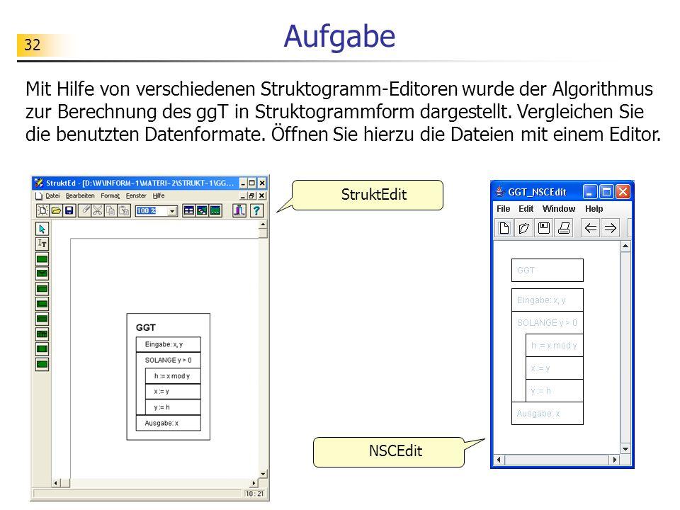 32 Aufgabe Mit Hilfe von verschiedenen Struktogramm-Editoren wurde der Algorithmus zur Berechnung des ggT in Struktogrammform dargestellt. Vergleichen