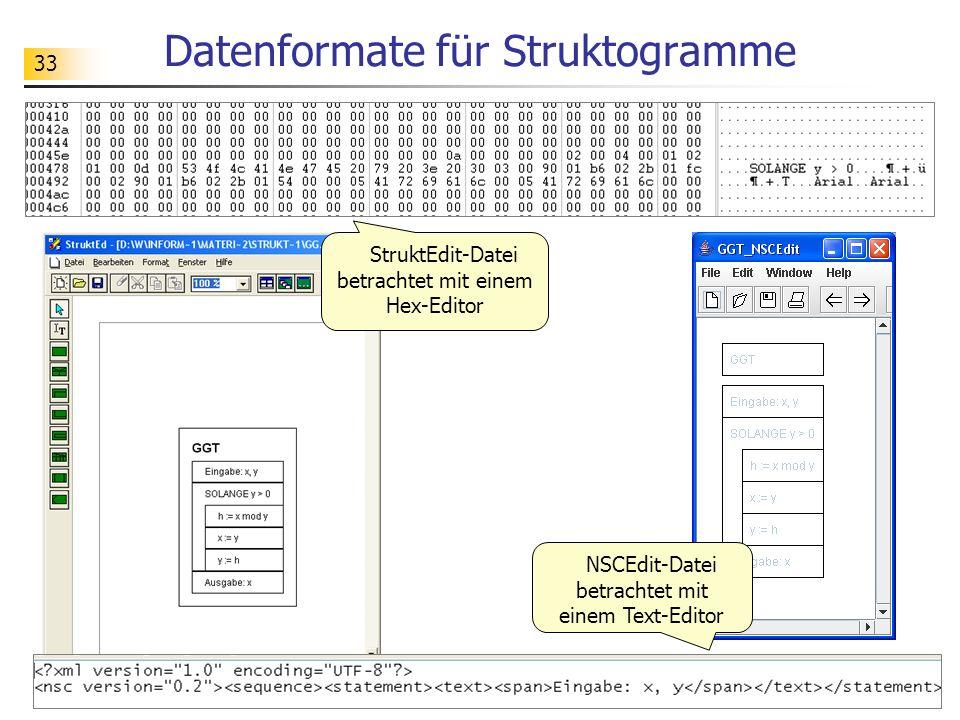 33 Datenformate für Struktogramme StruktEdit-Datei betrachtet mit einem Hex-Editor NSCEdit-Datei betrachtet mit einem Text-Editor