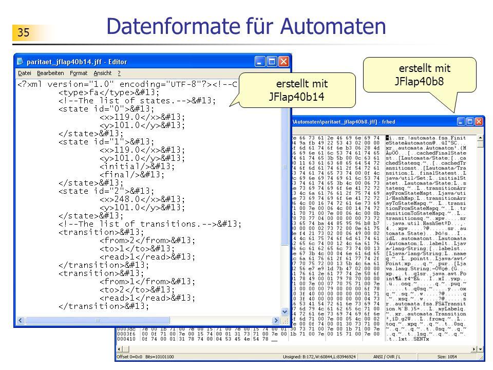 35 Datenformate für Automaten erstellt mit JFlap40b14 erstellt mit JFlap40b8