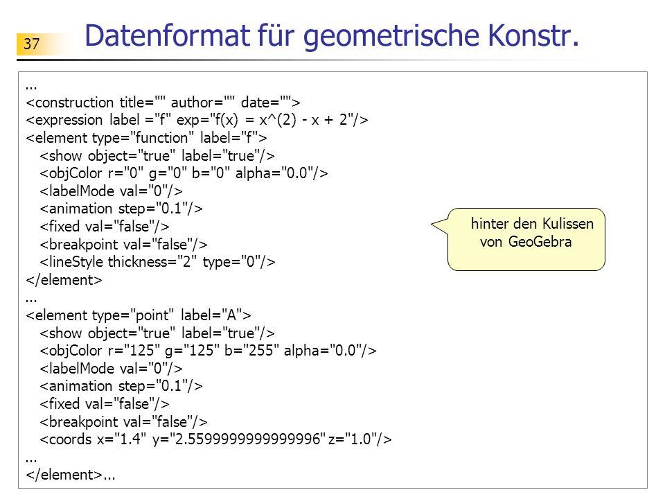 37 Datenformat für geometrische Konstr. hinter den Kulissen von GeoGebra......