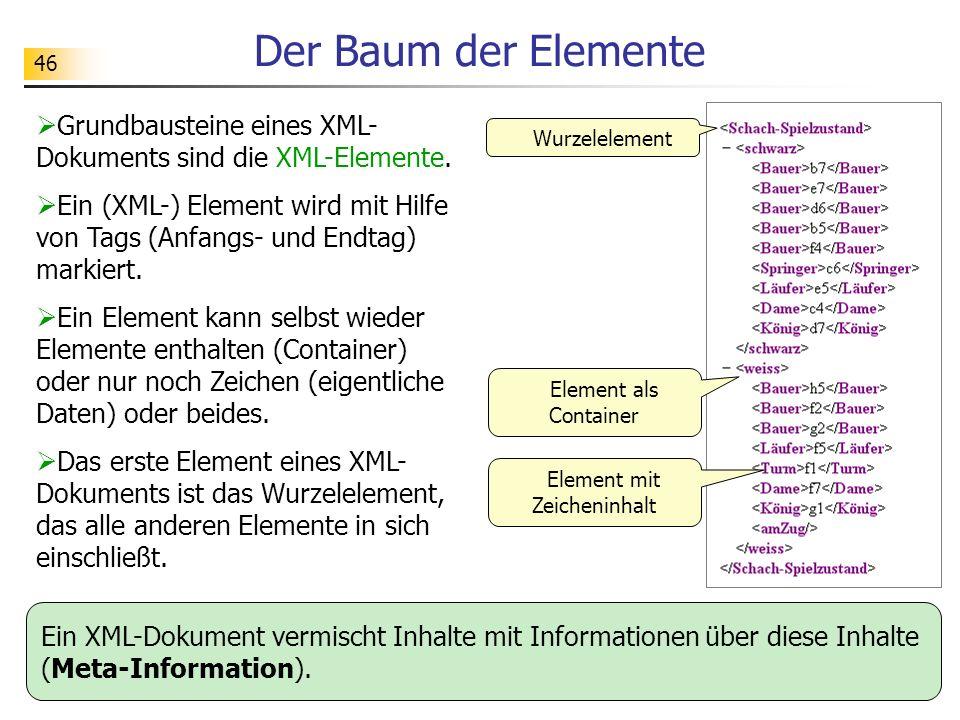 46 Der Baum der Elemente Grundbausteine eines XML- Dokuments sind die XML-Elemente. Ein (XML-) Element wird mit Hilfe von Tags (Anfangs- und Endtag) m