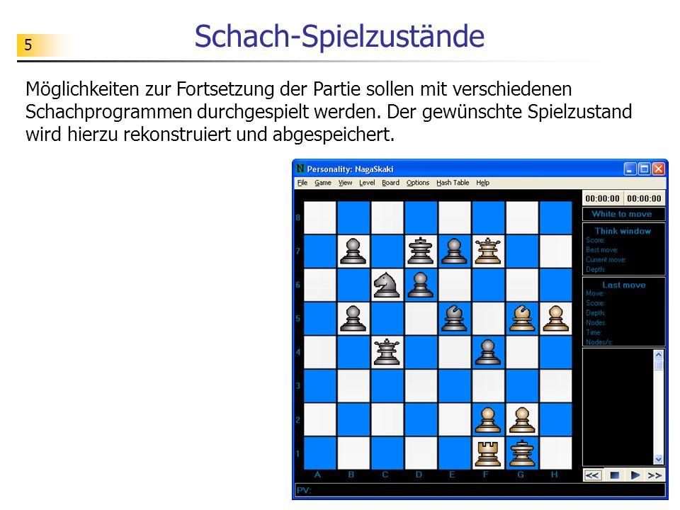 5 Schach-Spielzustände Möglichkeiten zur Fortsetzung der Partie sollen mit verschiedenen Schachprogrammen durchgespielt werden. Der gewünschte Spielzu