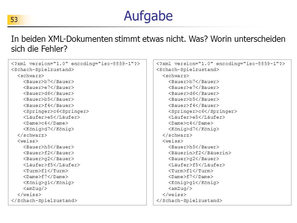 53 Aufgabe In beiden XML-Dokumenten stimmt etwas nicht. Was? Worin unterscheiden sich die Fehler? b7 e7 d6 b5 f4 c6 e5 c4 d7 h5 f2 g2 f5 f1 f7 g1 b7 e