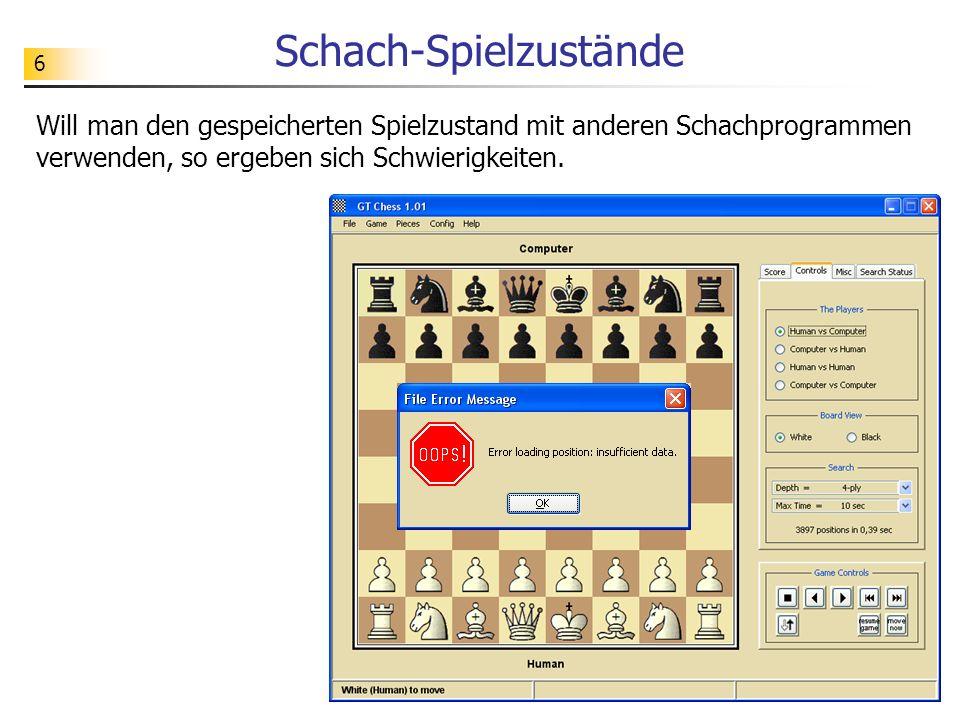 6 Schach-Spielzustände Will man den gespeicherten Spielzustand mit anderen Schachprogrammen verwenden, so ergeben sich Schwierigkeiten.