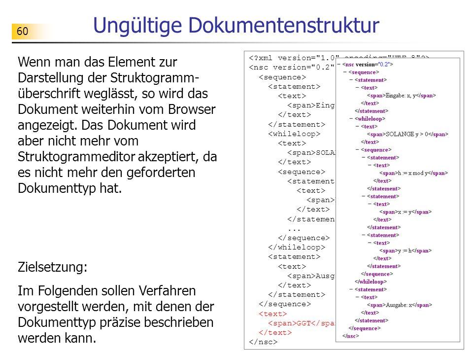 60 Ungültige Dokumentenstruktur Wenn man das Element zur Darstellung der Struktogramm- überschrift weglässt, so wird das Dokument weiterhin vom Browse