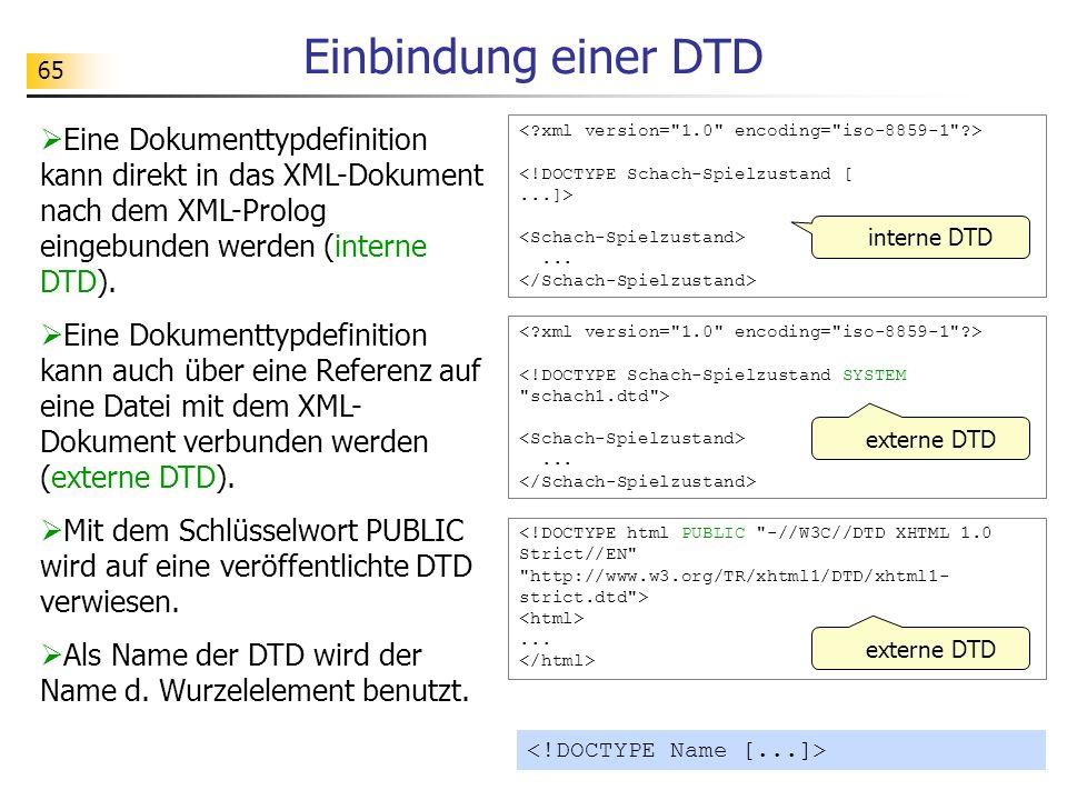 65 Einbindung einer DTD interne DTD Eine Dokumenttypdefinition kann direkt in das XML-Dokument nach dem XML-Prolog eingebunden werden (interne DTD). E