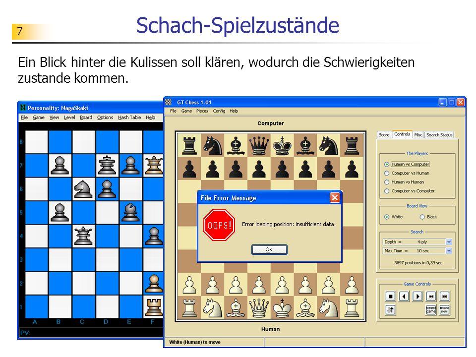 7 Schach-Spielzustände Ein Blick hinter die Kulissen soll klären, wodurch die Schwierigkeiten zustande kommen.