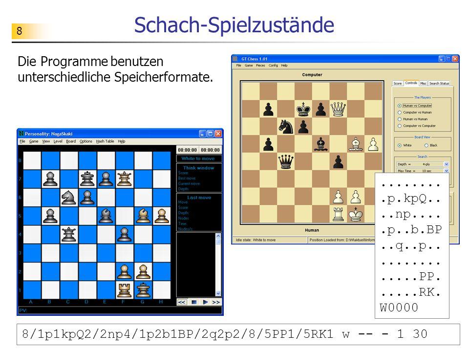8 Schach-Spielzustände Die Programme benutzen unterschiedliche Speicherformate..........p.kpQ....np.....p..b.BP..q..p...............PP......RK. W0000