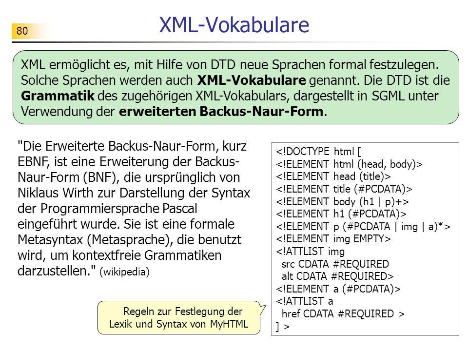 80 XML-Vokabulare ] > Regeln zur Festlegung der Lexik und Syntax von MyHTML XML ermöglicht es, mit Hilfe von DTD neue Sprachen formal festzulegen. Sol