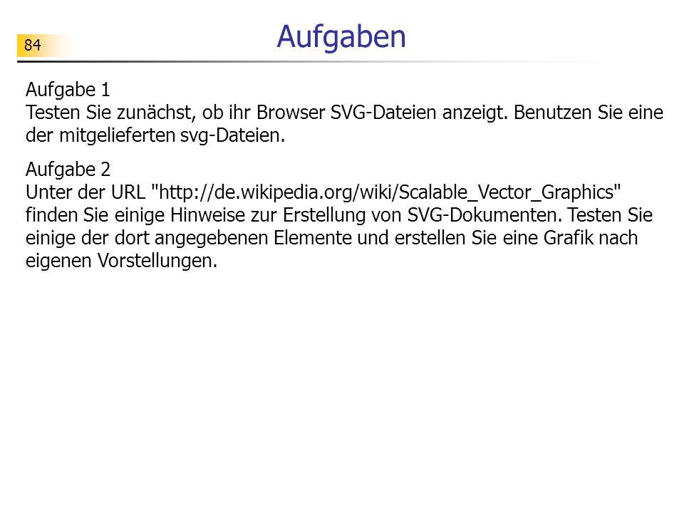 84 Aufgaben Aufgabe 1 Testen Sie zunächst, ob ihr Browser SVG-Dateien anzeigt. Benutzen Sie eine der mitgelieferten svg-Dateien. Aufgabe 2 Unter der U