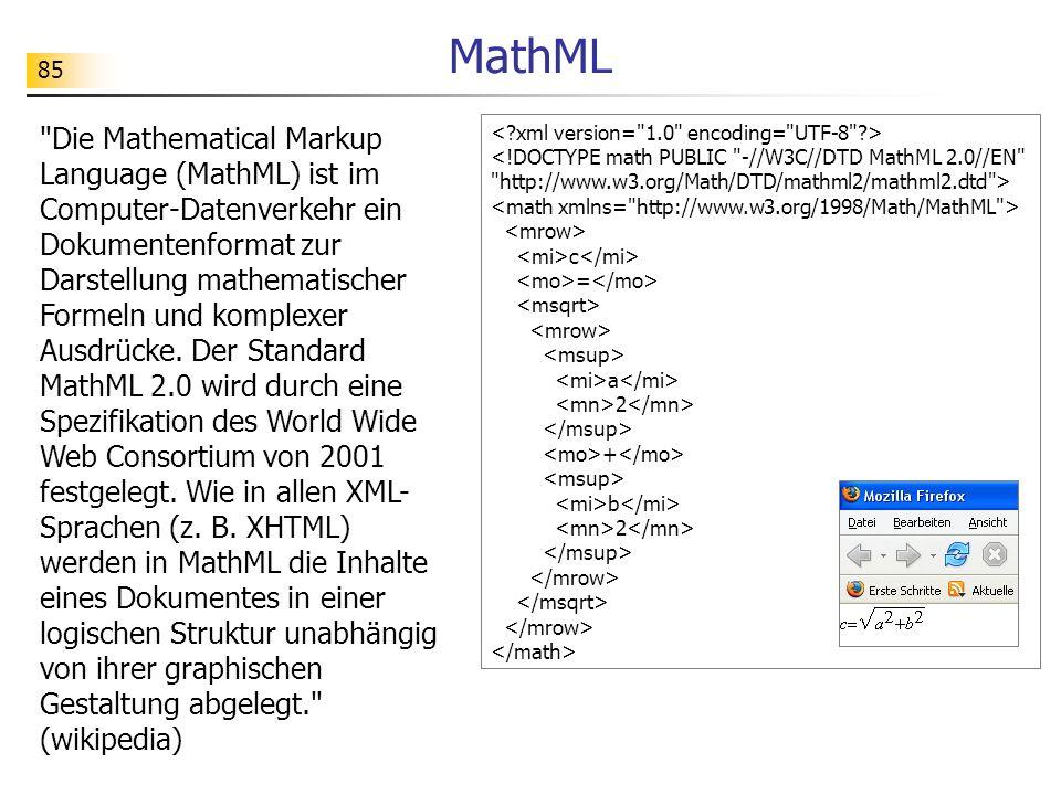 85 MathML c = a 2 + b 2