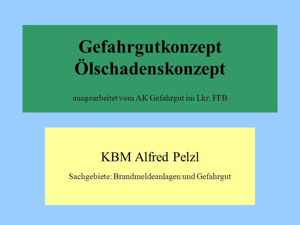 Gefahrgutkonzept Ölschadenskonzept ausgearbeitet vom AK Gefahrgut im Lkr. FFB KBM Alfred Pelzl Sachgebiete: Brandmeldeanlagen und Gefahrgut