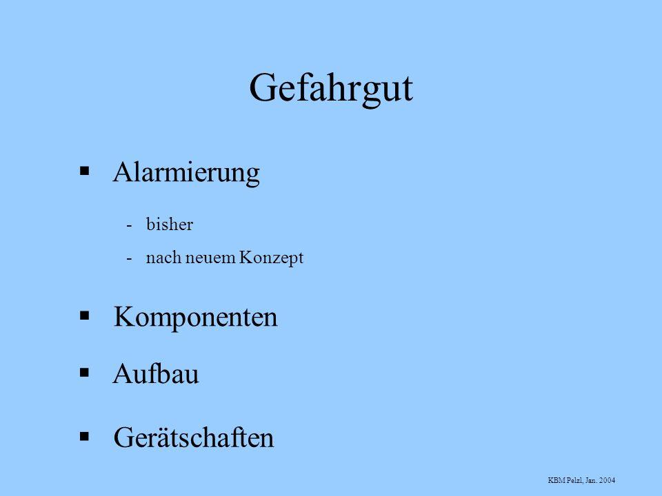 Gefahrgut Alarmierung - bisher - nach neuem Konzept Komponenten Aufbau Gerätschaften KBM Pelzl, Jan. 2004