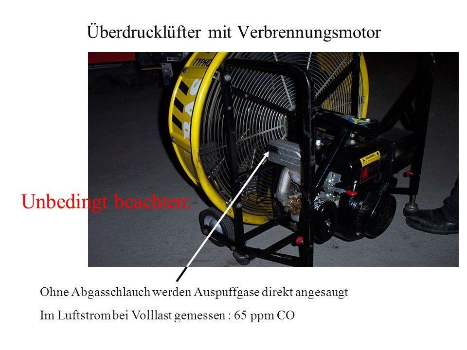 Überdrucklüfter mit Verbrennungsmotor Ohne Abgasschlauch werden Auspuffgase direkt angesaugt Im Luftstrom bei Volllast gemessen : 65 ppm CO Unbedingt