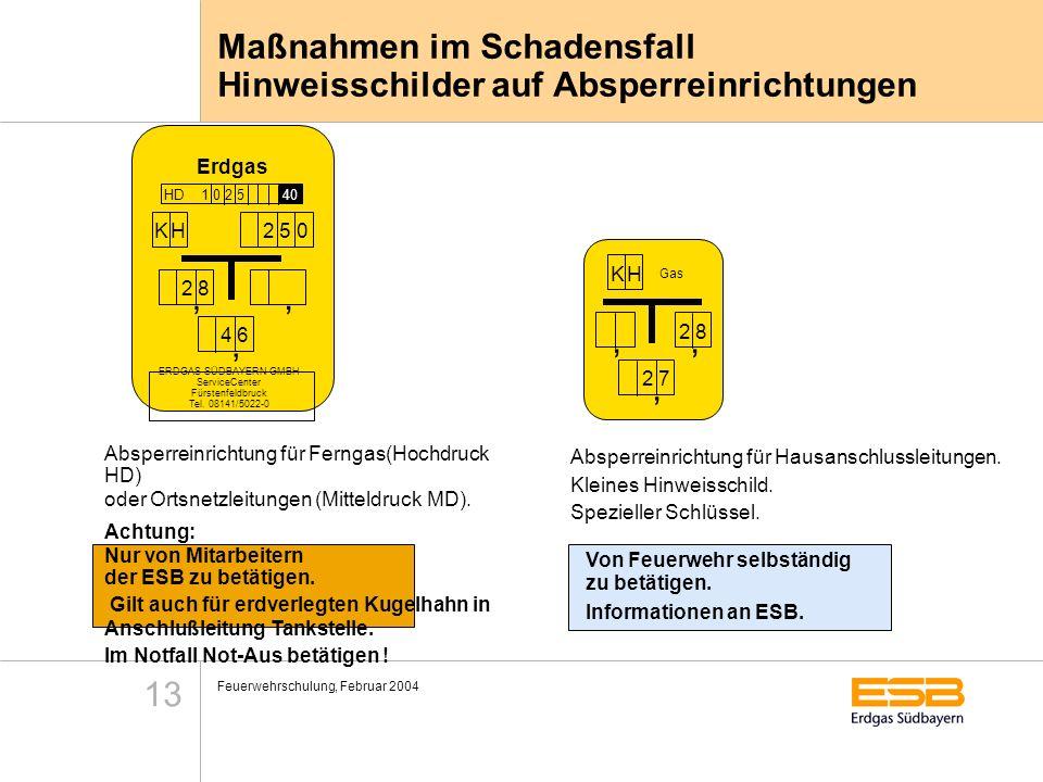 Feuerwehrschulung, Februar 2004 13 Maßnahmen im Schadensfall Hinweisschilder auf Absperreinrichtungen Erdgas HD 1 0 2 5 40 K HK H2 5 0, 2 8,, 4 6 ERDG