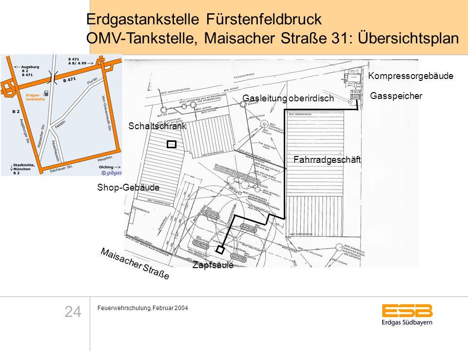 Feuerwehrschulung, Februar 2004 24 Kompressorgebäude Gasspeicher Gasleitung oberirdisch Zapfsäule Maisacher Straße Erdgastankstelle Fürstenfeldbruck O