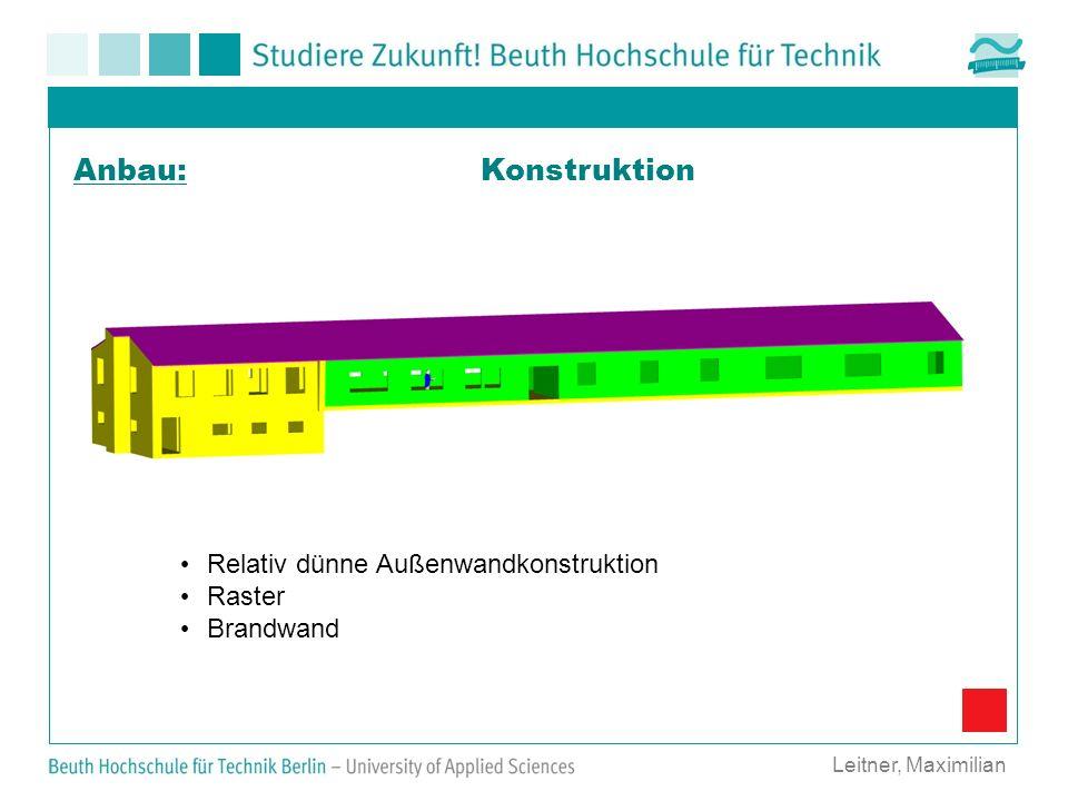 Konstruktion Leitner, Maximilian Anbau: Relativ dünne Außenwandkonstruktion Raster Brandwand