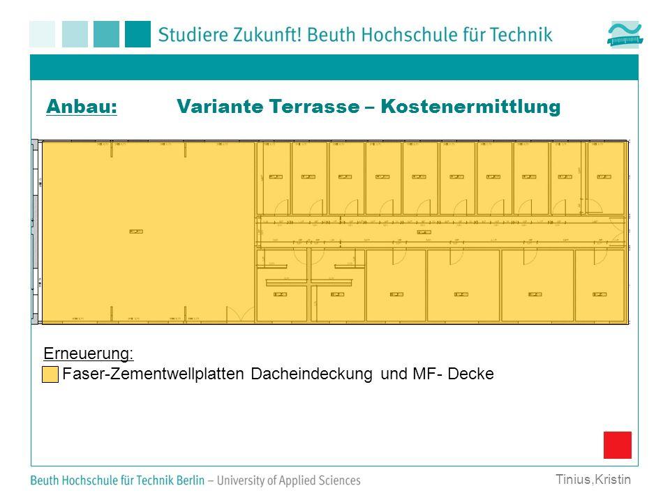 Variante Terrasse – Kostenermittlung Erneuerung: Faser-Zementwellplatten Dacheindeckung und MF- Decke Anbau: Tinius,Kristin