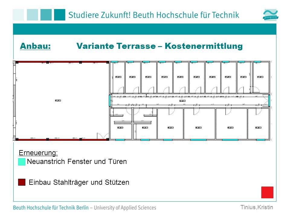 Variante Terrasse – Kostenermittlung Erneuerung: Neuanstrich Fenster und Türen Anbau: Tinius,Kristin Einbau Stahlträger und Stützen