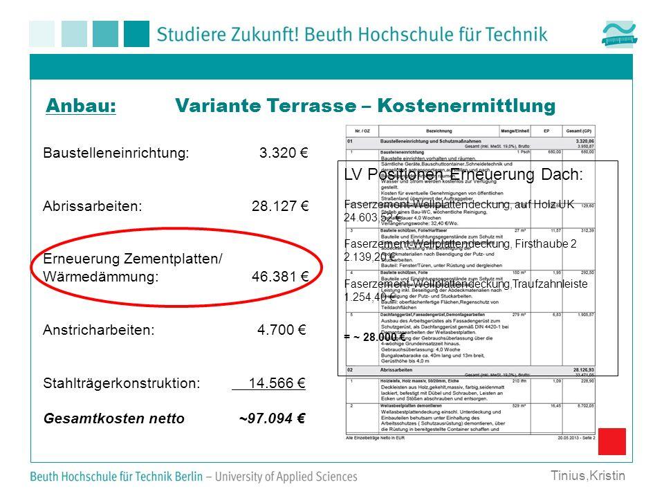 Variante Terrasse – KostenermittlungAnbau: Tinius,Kristin Baustelleneinrichtung: 3.320 Abrissarbeiten: 28.127 Erneuerung Zementplatten/ Wärmedämmung: