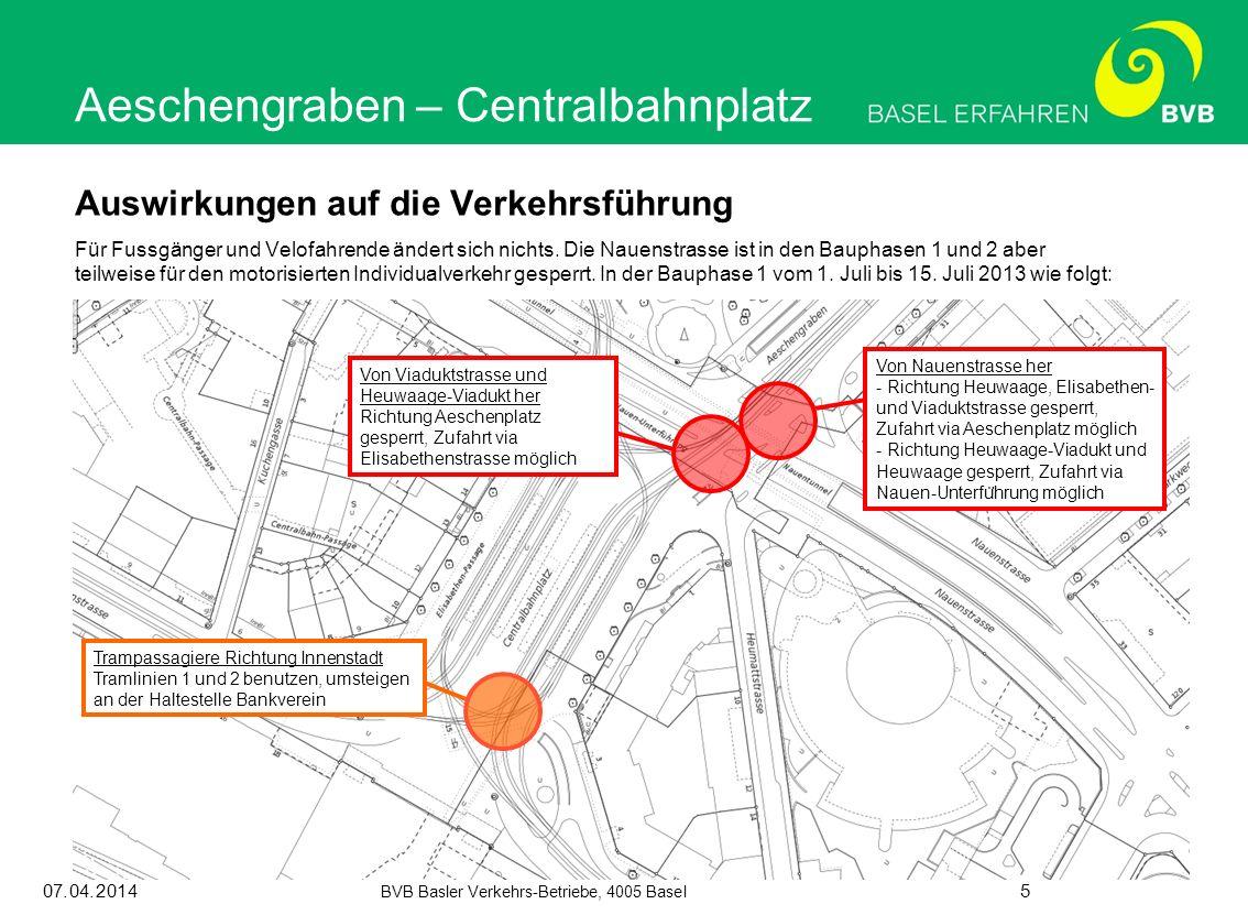 07.04.2014 BVB Basler Verkehrs-Betriebe, 4005 Basel 5 Auswirkungen auf die Verkehrsführung Für Fussgänger und Velofahrende ändert sich nichts. Die Nau
