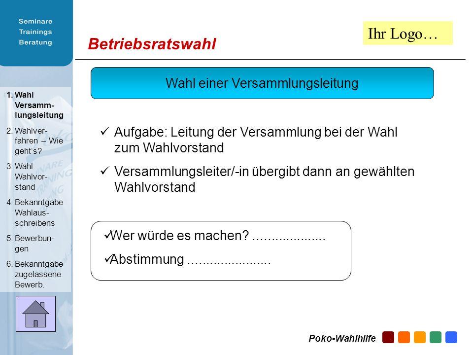 Betriebsratswahl Tagesordnung II Fortsetzung der Betriebsversammlung Bekanntgabe zur Veröffentlichung des Wahlausschreibens Entgegennahme der Bewerbun