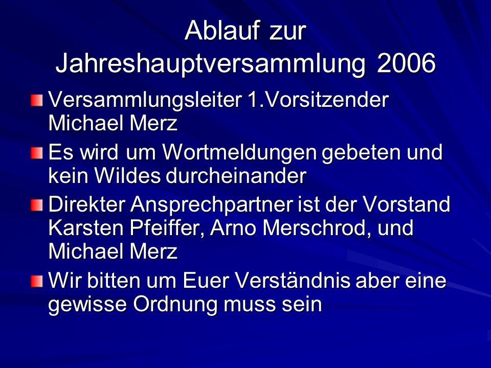 Ablauf zur Jahreshauptversammlung 2006 Versammlungsleiter 1.Vorsitzender Michael Merz Es wird um Wortmeldungen gebeten und kein Wildes durcheinander D