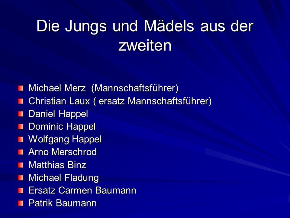 Die Jungs und Mädels aus der zweiten Michael Merz (Mannschaftsführer) Christian Laux ( ersatz Mannschaftsführer) Daniel Happel Dominic Happel Wolfgang