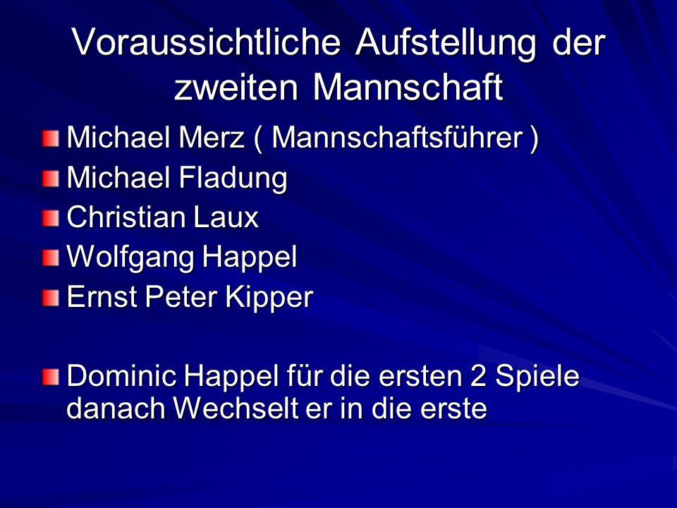Voraussichtliche Aufstellung der zweiten Mannschaft Michael Merz ( Mannschaftsführer ) Michael Fladung Christian Laux Wolfgang Happel Ernst Peter Kipp