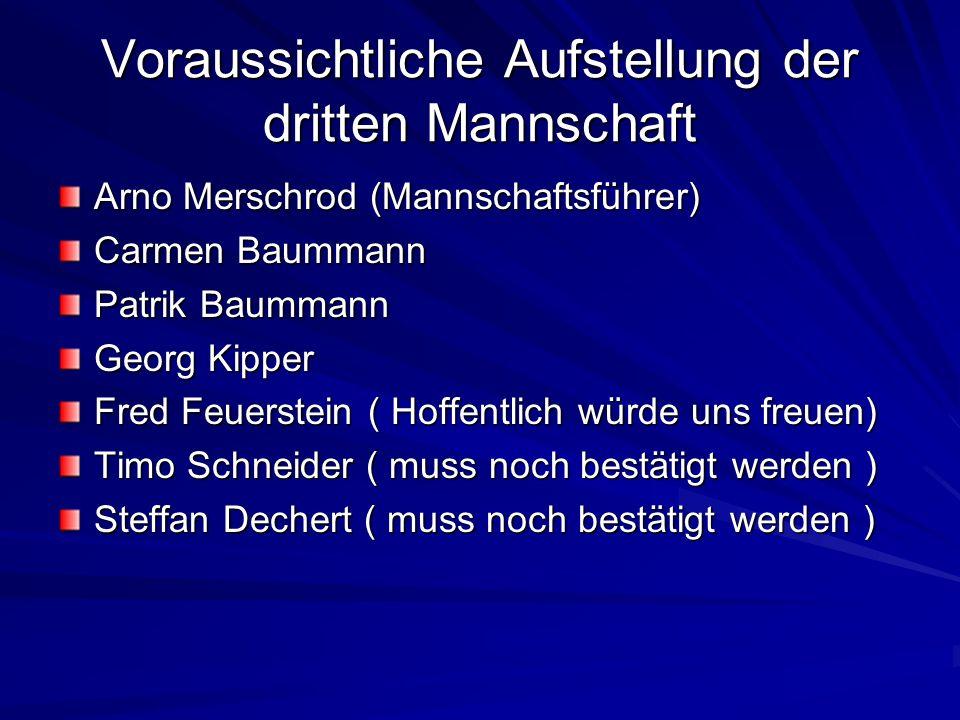 Voraussichtliche Aufstellung der dritten Mannschaft Arno Merschrod (Mannschaftsführer) Carmen Baummann Patrik Baummann Georg Kipper Fred Feuerstein (