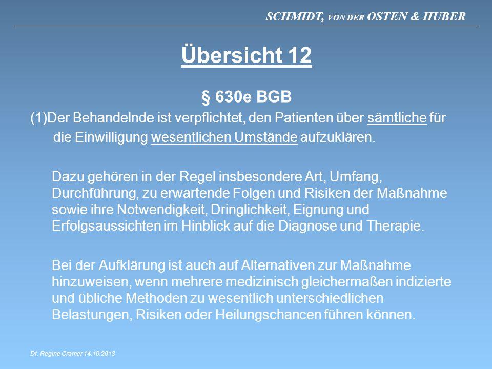 SCHMIDT, VON DER OSTEN & HUBER Übersicht 12 § 630e BGB (1)Der Behandelnde ist verpflichtet, den Patienten über sämtliche für die Einwilligung wesentli