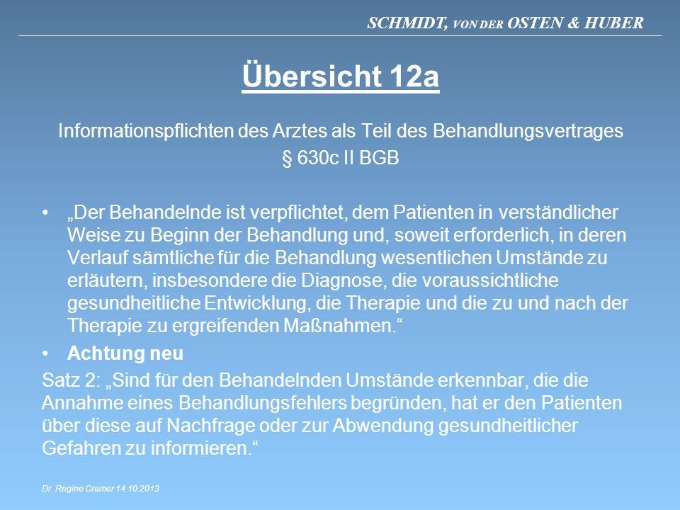 SCHMIDT, VON DER OSTEN & HUBER Übersicht 12a Informationspflichten des Arztes als Teil des Behandlungsvertrages § 630c II BGB Der Behandelnde ist verp