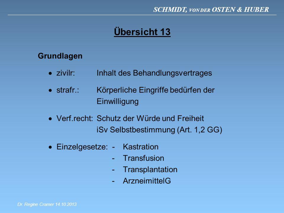 SCHMIDT, VON DER OSTEN & HUBER Übersicht 13 Dr. Regine Cramer 14.10.2013