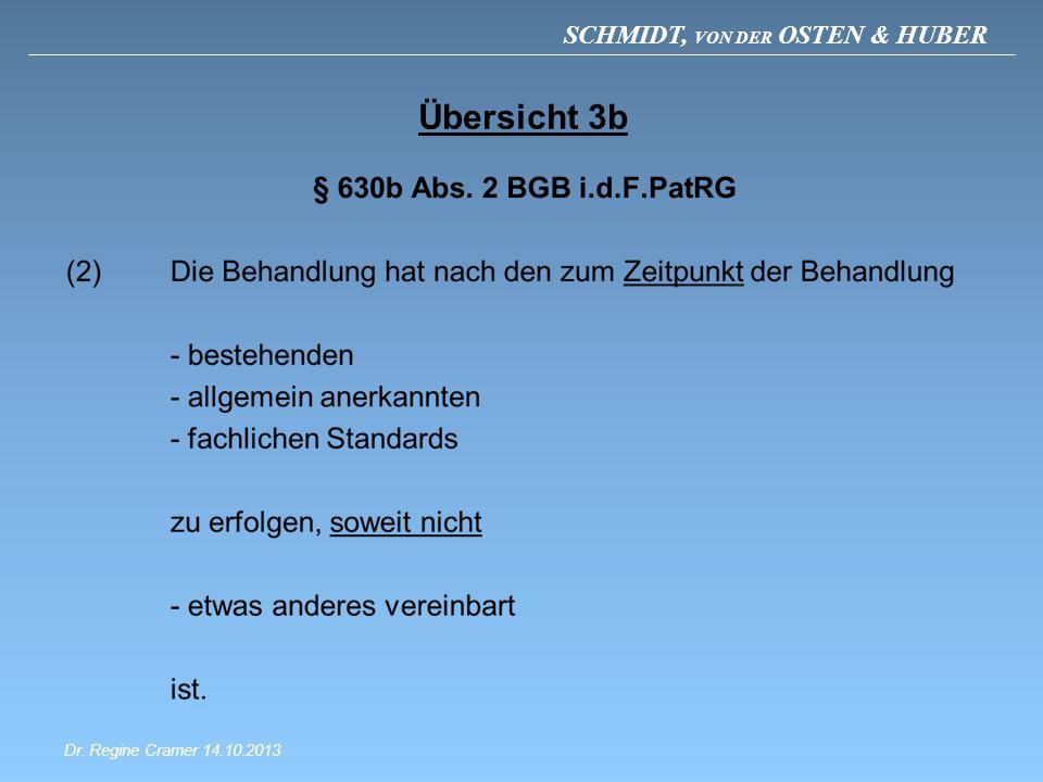 SCHMIDT, VON DER OSTEN & HUBER Übersicht 3b Dr. Regine Cramer 14.10.2013