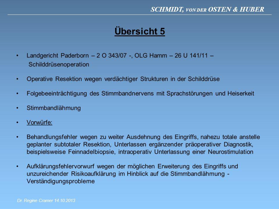 SCHMIDT, VON DER OSTEN & HUBER Übersicht 5 Dr. Regine Cramer 14.10.2013