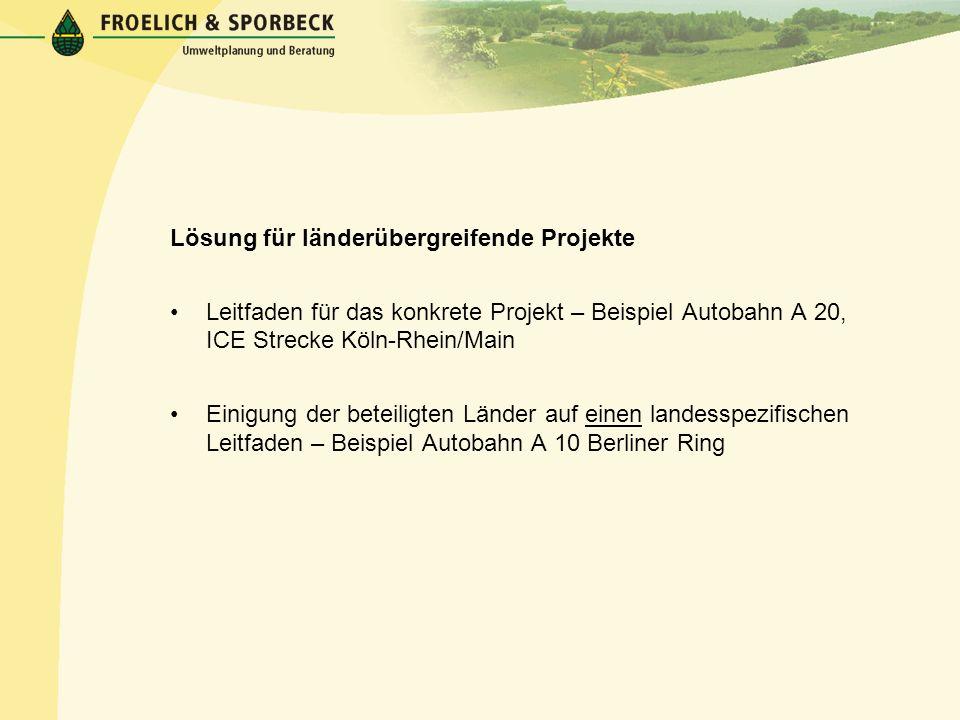Lösung für länderübergreifende Projekte Leitfaden für das konkrete Projekt – Beispiel Autobahn A 20, ICE Strecke Köln-Rhein/Main Einigung der beteilig