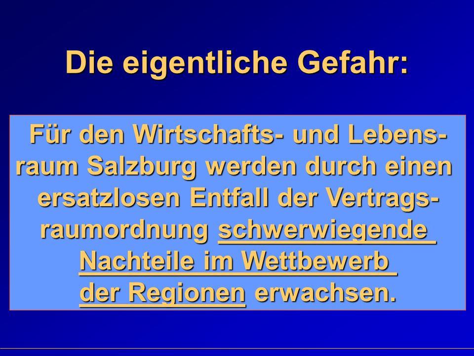 Die eigentliche Gefahr: Für den Wirtschafts- und Lebens- raum Salzburg werden durch einen ersatzlosen Entfall der Vertrags- raumordnung schwerwiegende