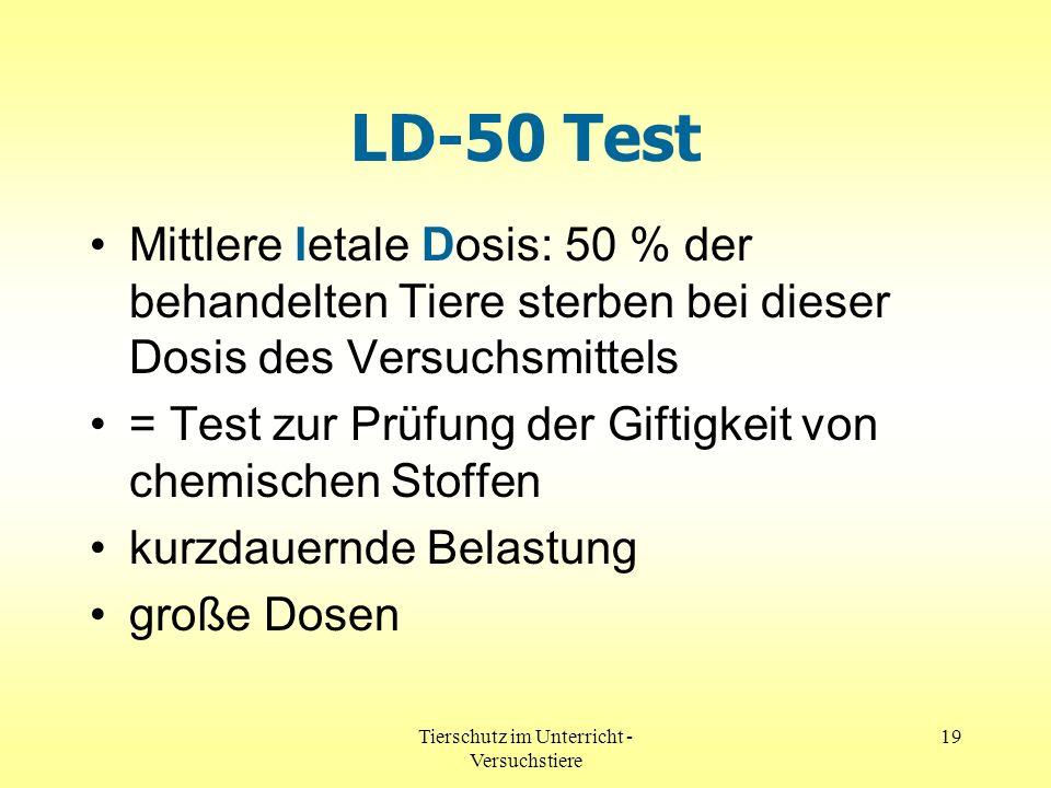 Tierschutz im Unterricht - Versuchstiere 19 LD-50 Test Mittlere letale Dosis: 50 % der behandelten Tiere sterben bei dieser Dosis des Versuchsmittels
